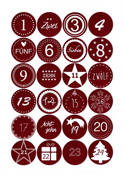 Adventskalender Sticker - Stoffoptik Rot