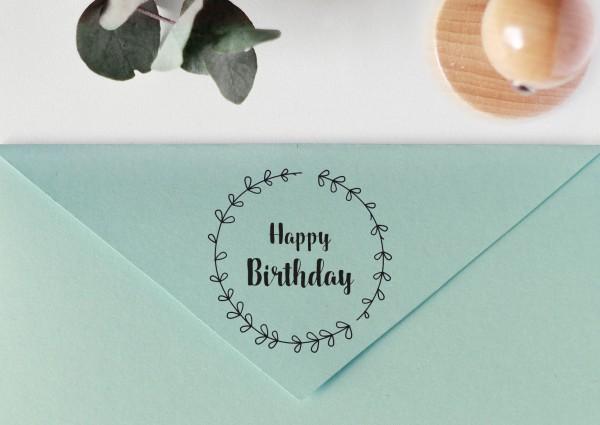 """Stempel mit Spruch """"Happy Birthday"""", mit Blätterkranz"""