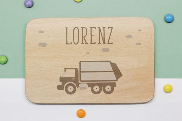 Frühstücksbrettchen Müllauto mit Namen graviert