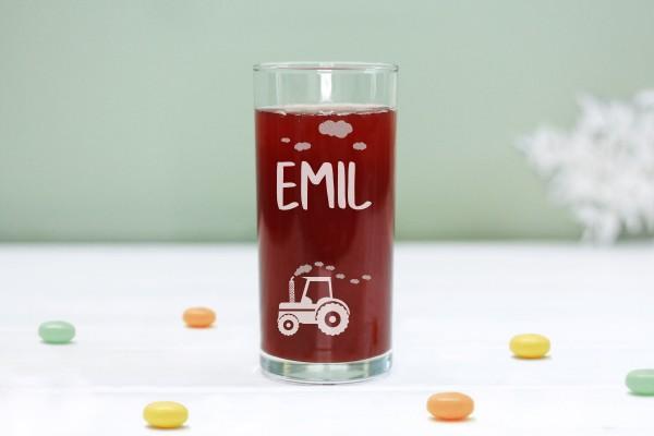 Trinkglas Kinderglas mit Traktor und Namen, personalisiert
