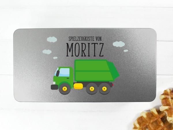 Spielzeugdose mit Motiv Müllauto und Wunschtext personalisiert