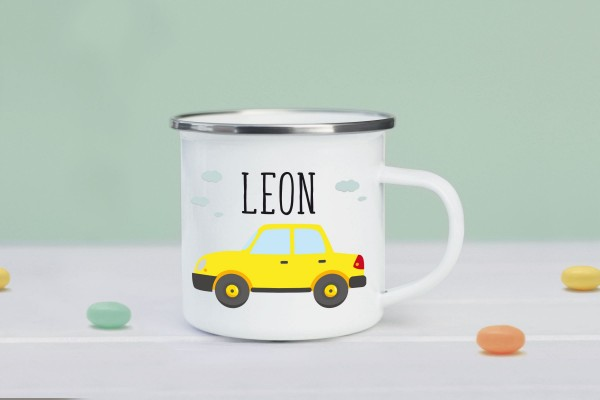 Emaille Tasse Auto mit Namen personalisiert