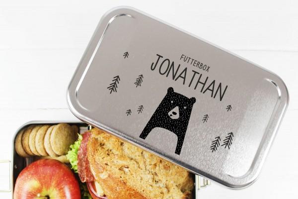 Nachhaltige Brotdose Name auf Lunchbox Bär