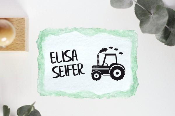 Kinderstempel Namensstempel mit Traktor personalisiert