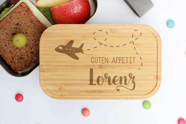 Nachhaltige Lunchbox aus Edelstahl mit Bambusdeckel Flugzeug