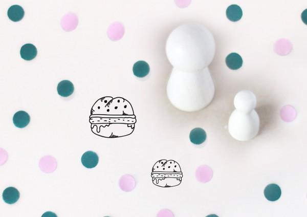 Kleiner Stempel mit Motiv: Burger