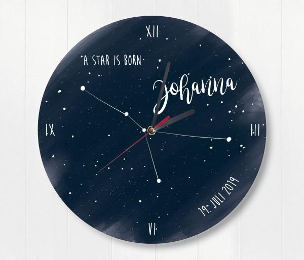 Sternzeichen Sternenhimmel Uhr mit Name und Datum Krebs