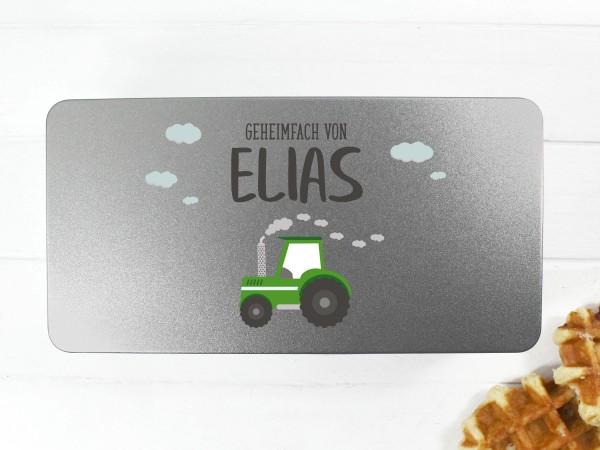 Spielzeugdose mit Motiv Traktor und Wunschtext personalisiert