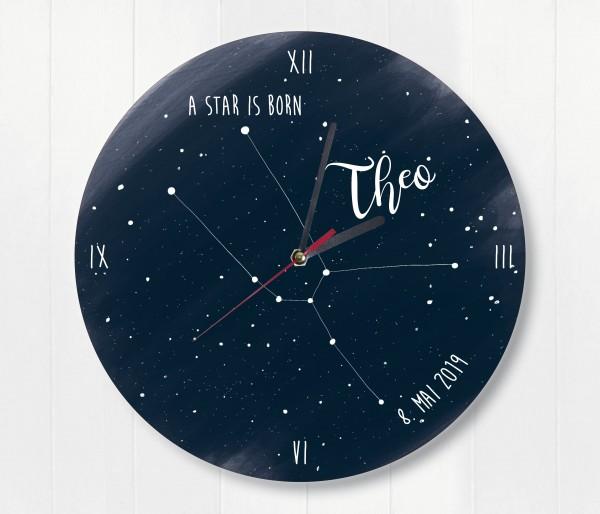 Sternzeichen Sternenhimmel Uhr mit Name und Datum Stier