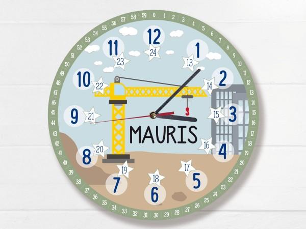 Kinder-Lernuhr mit 12/24 Stunden und Minuten mit Motiv Kran und Namen personalisiert