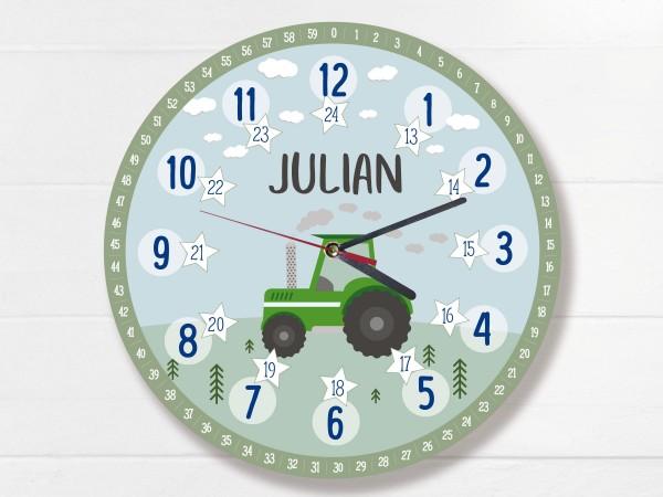 Kinder-Lernuhr mit 12/24 Stunden und Minuten mit Motiv Traktor und Namen personalisiert