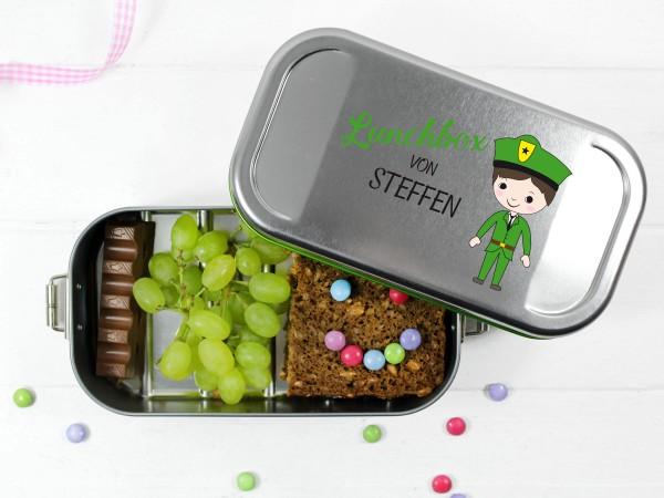 Pausenbox Polizist in Grün für Jungen