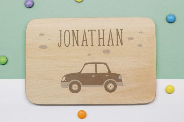 Frühstücksbrettchen Auto mit Namen graviert
