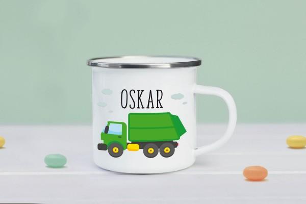 Emaille Tasse Müllauto mit Namen personalisiert