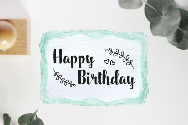 Textstempel: Happy Birthday
