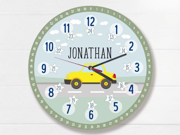 Kinder-Lernuhr mit 12/24 Stunden und Minuten mit Motiv Auto und Namen personalisiert