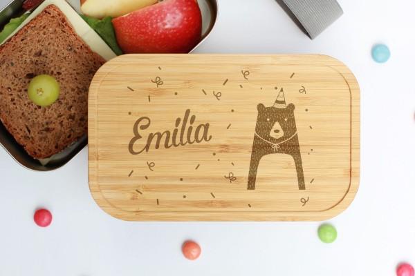 Nachhaltige Lunchbox aus Edelstahl mit Bambusdeckel Party Bär
