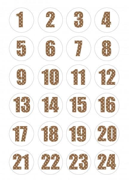 Adventskalender Sticker - Polka Dot Braun/Weiß