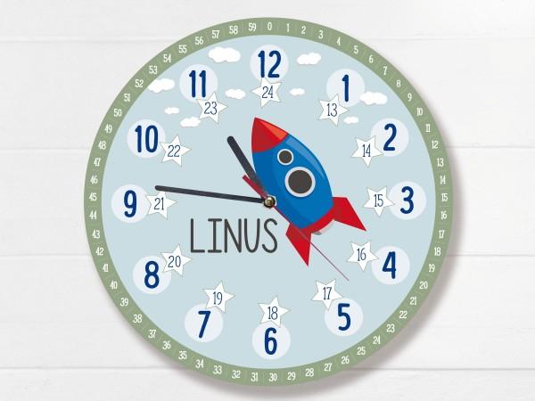 Kinder-Lernuhr mit 12/24 Stunden und Minuten mit Motiv Rakete und Namen personalisiert
