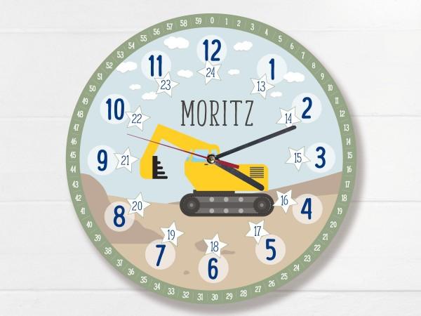 Kinder-Lernuhr mit 12/24 Stunden und Minuten mit Motiv Bagger und Namen personalisiert