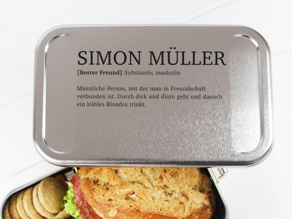 Nachhaltige Brotdose mit Definition Name für Arbeitskollege Freund