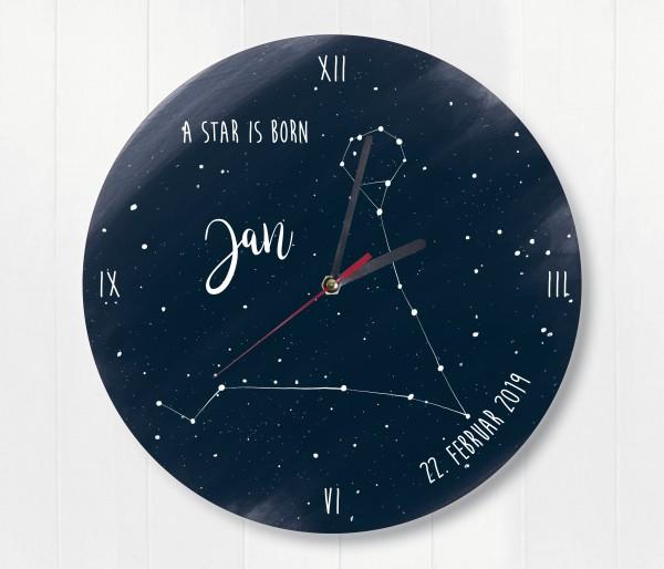 Sternzeichen Sternenhimmel uhr mit Name und Datum Fische