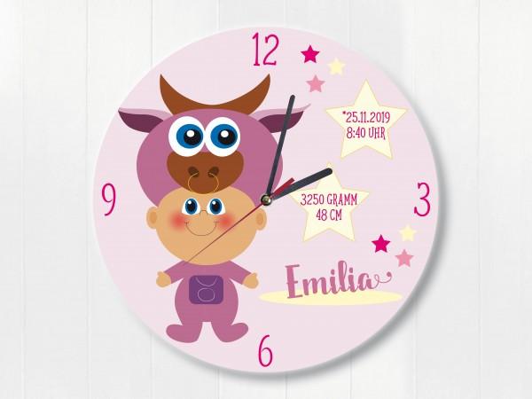 Geburtsdaten Wanduhr für Kinder mit Sternzeichen Stier
