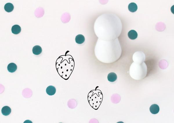 Kleiner Stempel mit Motiv: Erdbeere