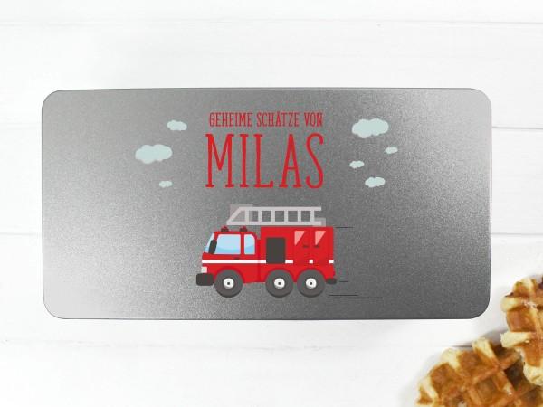 Spielzeugdose mit Motiv Feuerwehrauto und Wunschtext personalisiert