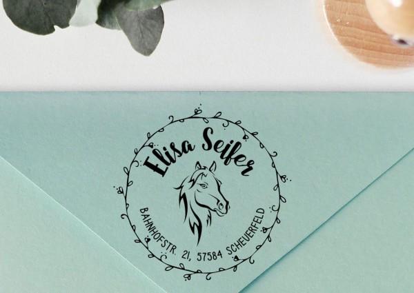 Kinderstempel Adressstempel mit Pferdekopf mit Wunschtext personalisiert