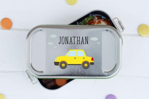 Nachhaltige Brotdose mit Abtrenner mit Name und Auto