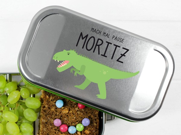 Nachhaltige Brotdose mit Name und T-Rex