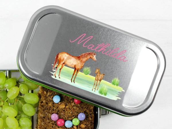 Brotdose Lunchbox mit Name Pferd und Fohlen