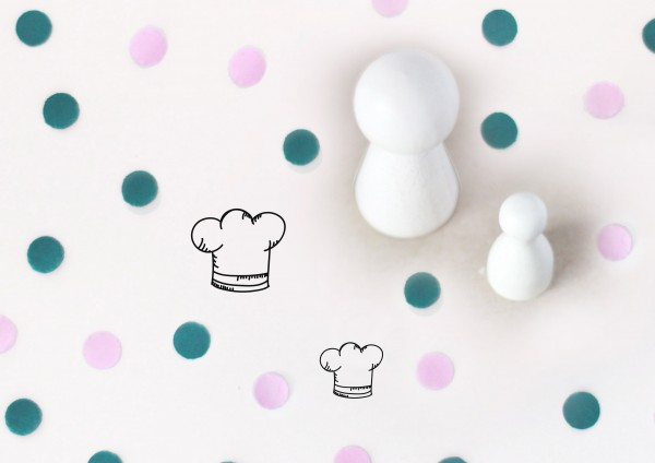 Kleiner Stempel mit Motiv: Kochmütze
