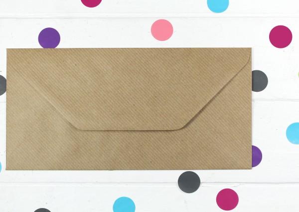 20 Briefumschläge Naturpapier, gerippt Din lang