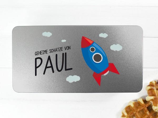 Spielzeugdose mit Motiv Rakete und Wunschtext personalisiert