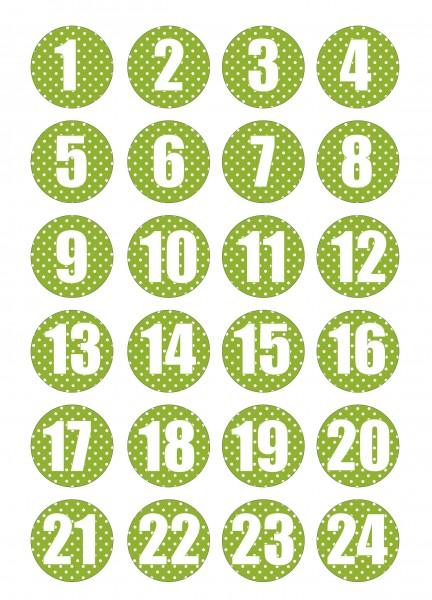 Adventskalender Sticker - Polka Dot Weiß/Grün