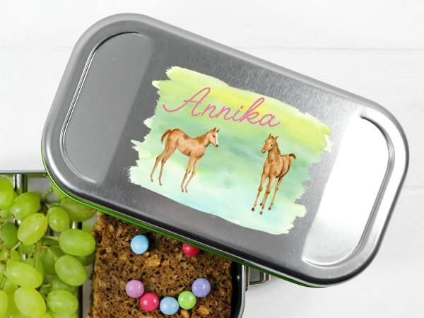 Brotdose Lunchbox mit Name und 2 Pferden