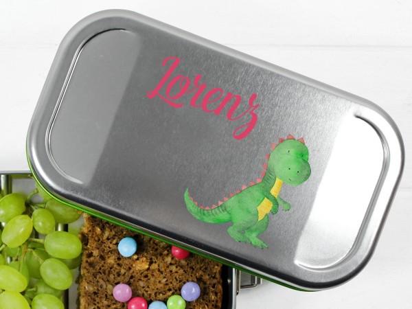 Butterbrotdose mit Dino Drachen und Namen