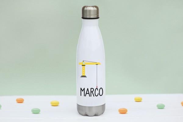 Thermoflasche Edelstahl Kran mit Namen personalisiert
