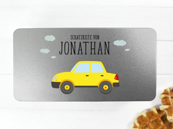 Spielzeugdose mit Motiv Auto und Wunschtext personalisiert