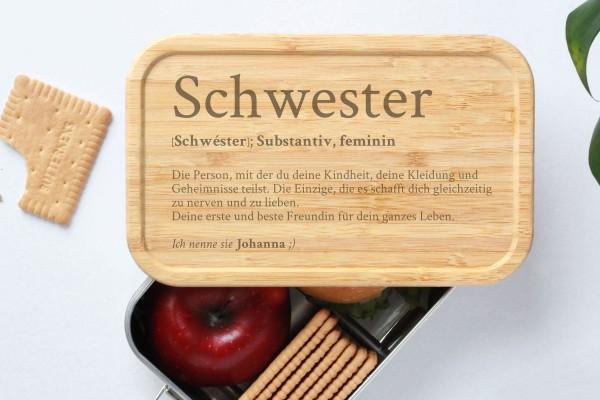 Brotdose für Schwester Definition Geschenk Lunchbox