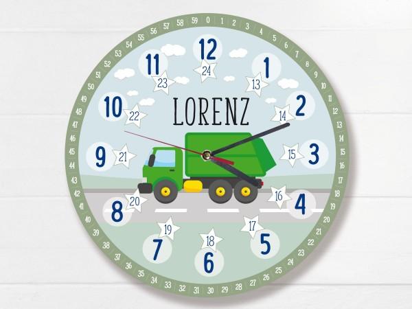 Kinder-Lernuhr mit 12/24 Stunden und Minuten mit Motiv Müllauto und Namen personalisiert