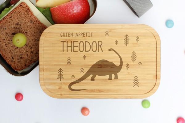 Nachhaltige Lunchbox aus Edelstahl mit Bambusdeckel Dinosaurier Dino