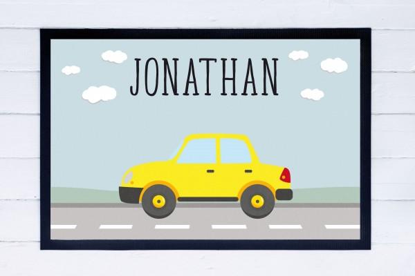 Fußmatte oder Spielmatte mit Motiv Auto und Namen personalisiert