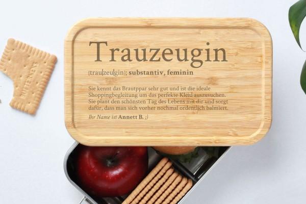 Brotdose für Trauzeugin Definition Geschenk Lunchbox