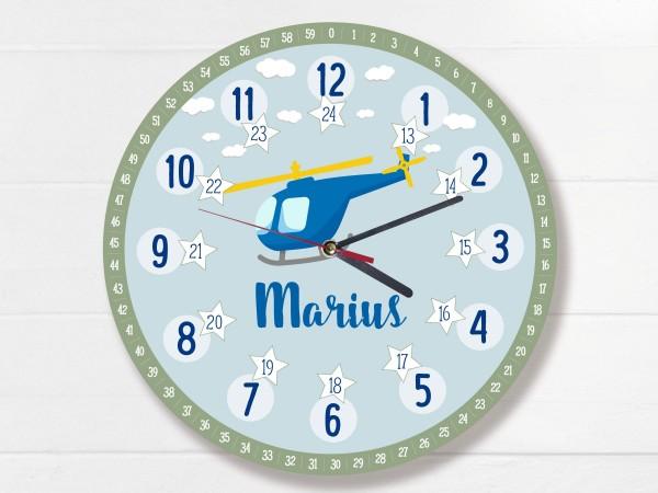 Kinder-Lernuhr mit 12/24 Stunden und Minuten mit Motiv Helikopter und Namen personalisiert