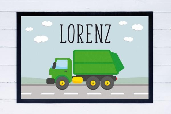 Fußmatte oder Spielmatte mit Motiv Müllauto und Namen personalisiert