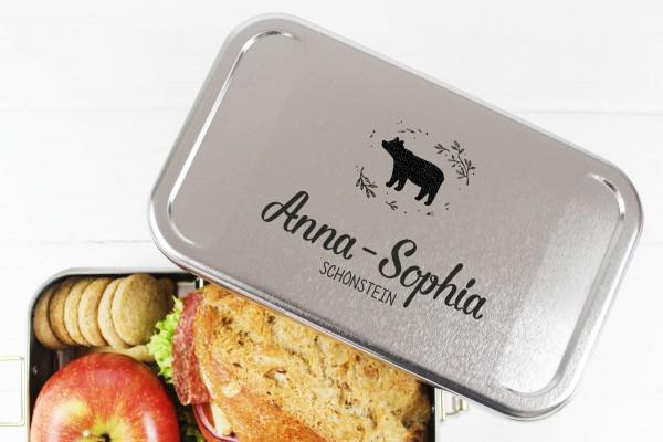 Nachhaltige Brotdose Name auf Lunchbox Bär Mädchen