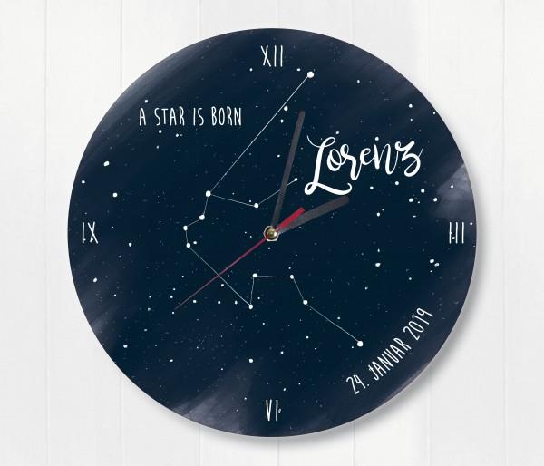 Sternzeichen Sternenhimmel Uhr mit Name und Datum Wassermann